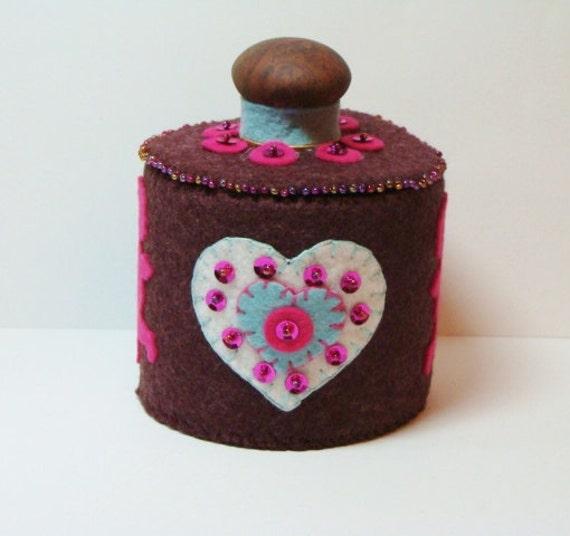Valentine Round Decorated Box Handmade Wool Felt By Woolhearts
