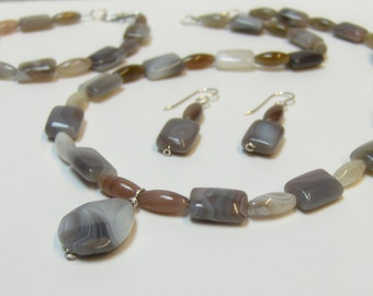 Botswana Agate Bead Necklace Earring & Bracelet Set in Sterling Silver