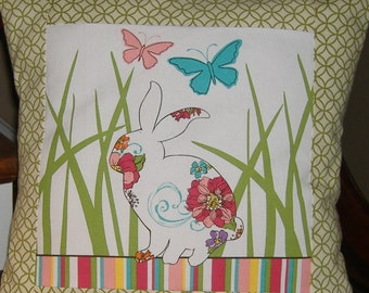 Bunny Rabbit in the grass pillow cover