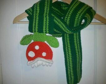 Crocheted Piranha Plant Scarf Super Mario Brothers