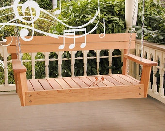 Musical Porch Swing, wooden swing made from cedar for musical summer outdoor fun.