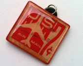 United States Red Air Mail 7 cent canceled stamp charm
