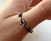 Knotted Ring - Rose Pink and Black Wire - Made to Order
