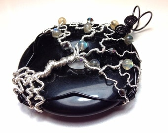 Silver Tree of Life Pendant - On Onyx with Labradorite and Swarovski Crystals - Gothic and Dark Necklace - Wiccan Jewelry