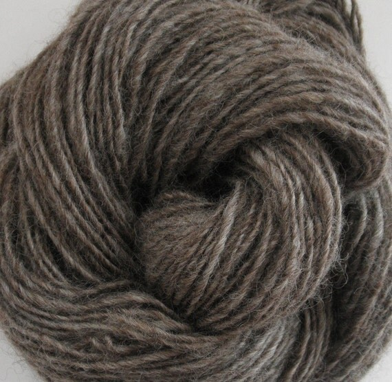"CLEARANCE SALE Handspun Yarn ""Wood Smoke"" 100% Romney Wool"