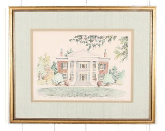 Mimi Loup Brown 79 Melrose Framed Print / Southern Plantation Home Vintage Print / Lithograph Print / Antique Lithograph / Unique Home Art
