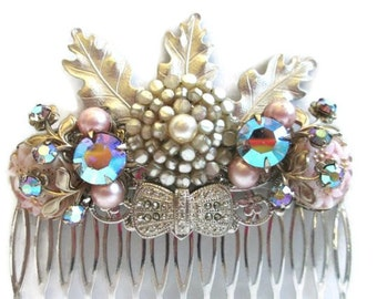 Winter Wedding Hair Comb Silver Hair Leaves Bridal Hairpiece Accessory