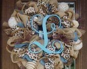 Burlap Wreath with LEOPARD RIBBON and INITIAL