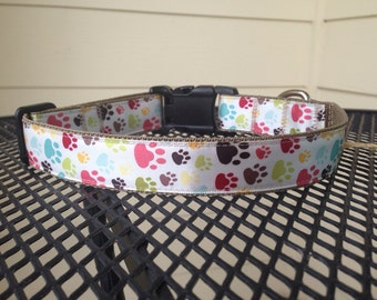 "Paw Prints Multi-Color 1"" Wide Adjustable Dog Collar"