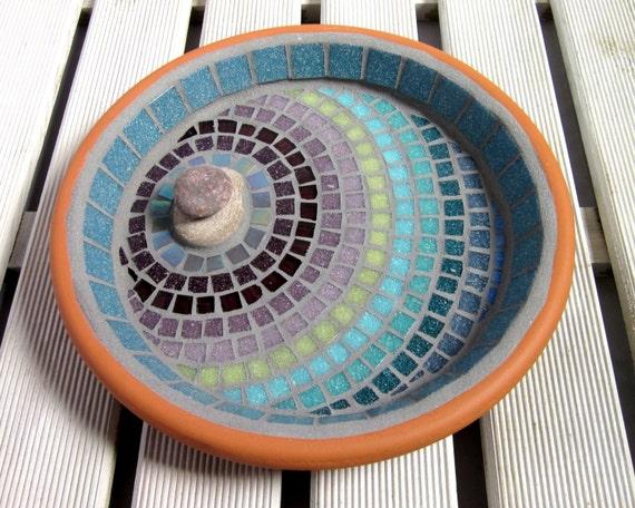 Mosaic Patterns For Bathrooms: Heather Ripple Mosaic Garden Bird Bath Ornament