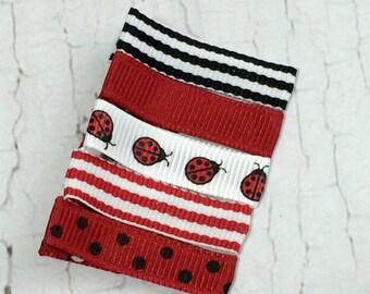 Baby Hair Clips - Ladybug Red Set - Simple Alligator Hair Clip Set of 5- Baby, Girl, Toddler, Children