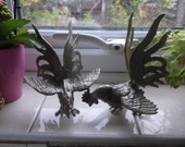 French metal Fighting Rooster figurines shabby chic cottage chic UK