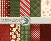 "Digital Scrapbook Paper Pack Instant Download - The Basics: Shabby Textured Christmas -10 12""x12"" Papers for Christmas Scrapbooks, Cards"