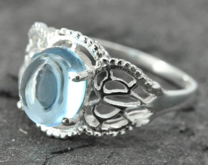 Blue topaz, sterling silver, gemstone, filigree, solitaire, december birthstone, one of a kind, ring, cabochon