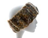 Crocheted wool headband, wool tweed men's and women's earwarmer, neckwarmer, brown tweed headband, fall fashion, winter fashion, extra large