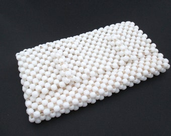 Vintage White Beaded Front Flap Clutch Handbag Purse