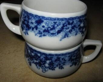 Bauscher Weiden Bavaria Two Small Colbalt Blue Floral Teacups No Saucers