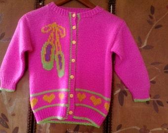 Girls neon pink hand knitted ballerina sweater / cardigan
