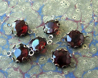 8mm Vintage Garnet Rhinestone 2-Loop Connectors in Brass Ox Lace Edge Settings (6)