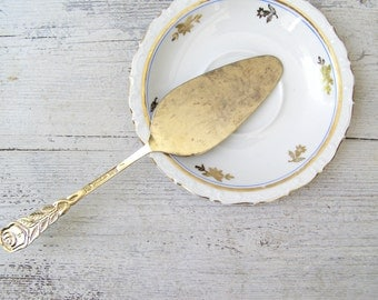 Gold Plated Cake Spatula, Mid century Modern Flatware, European Vintage Goldplate Wedding Cake Pie Pastry Server, German Serving Spatula