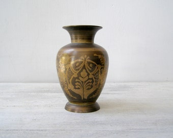 Copper Art Vase, Asian Engraved Bronze Vase, Vintage Table Vase, Golden Bronze Copper Art, Woodland Floral Bud Vase, Etched Metal Ewer