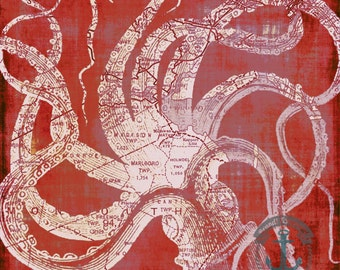 Monmouth Central Jersey Shore Octopus Vintage Map Wall Art At Checkout, Choose Lustre Print or Gallery Wrapped Canvas