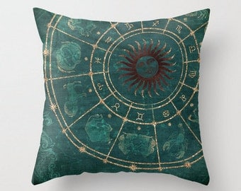 Zodiac Chinese Horoscope Spiritual Throw Pillow Product Sizes and Pricing via Dropdown Menu