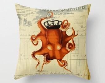 Orange Octopus Vintage French Chic Crown Ephemera Throw Pillow Home Decor
