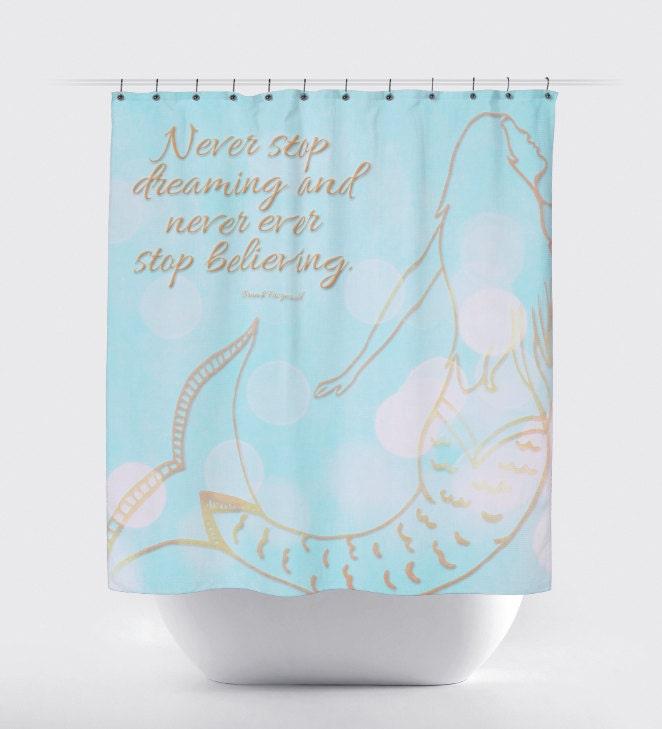 Mermaid Shower Curtain: Blue Coral Nautical by BrandiFitzgerald