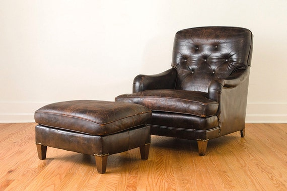 Reserved Vintage Brown Tufted Leather Club Chair And Ottoman