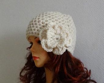 Women's crochet  hat with crochet flower / womens hats Womens hat Big Flower Crochet  Womens Hat Winter Accessories Autumn Fashion