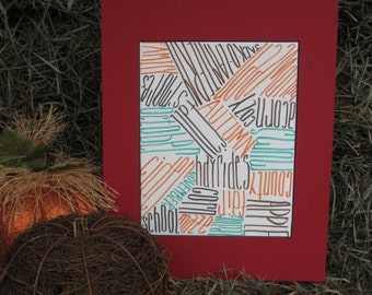 Subway Art/ Fall and Autumn Word Pictures Art/Spinning and Fiber Word Art/ Fall Wall Decoration