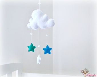 Star mobile - cloud mobile - aquamarine, white and cyan blue - baby mobile - nursery decor - MADE TO ORDER