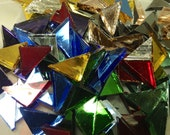 TRIANGLES - JACOB'S COAT Mirror - Colored Stained Glass Mosaic Tile M7