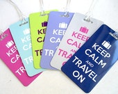 Luggage Tag - 3-pack  Keep Calm and Travel On  Luggage Tag-  Travel Accessories - Travel  Luggage Tag - Light Blue Travel Tag