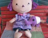 Primitive Raggedy Folk Art  Prim Doll Purple Hair With Purple Elephant and Vintage Doll Quilt SetSet FAAP HAFAIR OFG