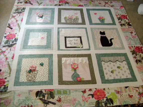 RESERVED - Custom Quilt for Pam Gray - 'Apartment Windows' - Lap Quilt / Throw