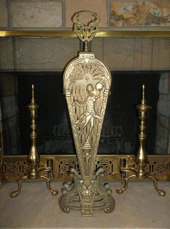 Vintage Brass Fireplace Peacock Fan Summer Fireplace Screen