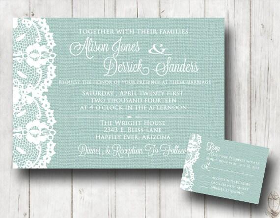 Lace Themed Wedding Invitations: Items Similar To Teal Burlap And Lace Wedding Invitation