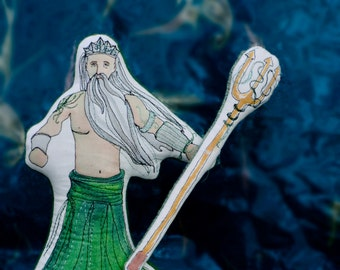 Poseidon. Hand Painted Greek Mythology Art Doll by Aly Parrott on Etsy. Ready to ship.