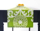 Modern Green Table Runner, Modern Green Floral Table Runner 60 inch, 72 inch, 96 inch, 108 inch, 120 inch