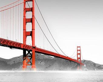 Photograph print - San Francisco Golden Gate Bridge - Red Black and White