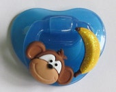 "Reborn  Magnetic Doll Pacifier, Cute Customized ""Monkey and Banana"" Fisher Price w/Magnets and Instructions"