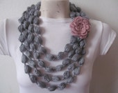 Gray Bubble Scarf With Rose Flower, Gray Scarf Necklace With Rose Flower
