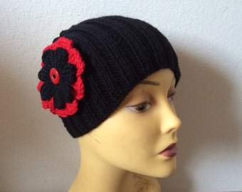 Knit Black Wide Head Band With Red Flower, Women head Wrap