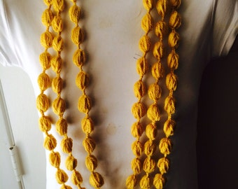 Mustard Bubble Loop Stitch Scarf Necklace, Usa Seller