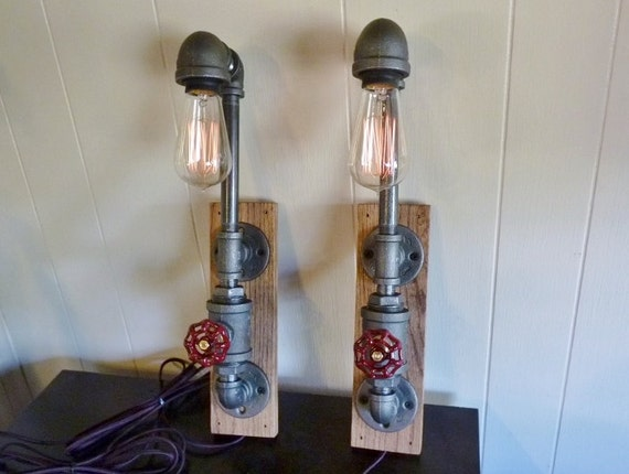 Wall Sconces With Dimmer : Items similar to FAUCET HANDLE DIMMER! Pair of wall lamps sconces, black iron pipe, oak mount ...