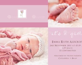 Little Pink Flower Baby Birth Announcement (Girl)
