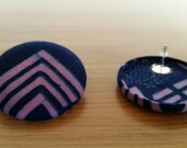 Extra Large Handmade Fabric Covered Button Earrings