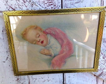 Vintage gold frame picture sleeping baby, Nursery picture in gold frame pink and blue